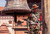 taleju bell and nepali gurkha army soldier - bhaktapur durbar square (nepal), bell, bhaktapur, durbar square, fatigues, gorkhas, guards, gurkha army, gurkha regiment, gurkhas, hat, man, military, nepalese army, red stripe, soldiers, uniform