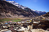 marpha village - rooftops - valley (nepal), annapurnas, houses, kali gandaki valley, marpha, mountains, nilgiri, peak, snow, village