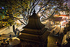 hindu shrine near the pashupatinath temple - kathmandu (nepal), backlight, festival, hindu temple, hinduism, kathmandu, maha shivaratri, night, pashupati, pashupatinath temple, shrine, stairs, steps, stupa, tree