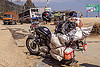 royal enfield bullet motorcycle loaded with luggage on rack (nepal), 350cc, bags, gas, gasoline, helmet, jerrycans, luggage, motorbike touring, motorcycle touring, road, royal enfield bullet, thunderbird