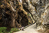 narrow gorge - overhanging rock  - road between beni and jomsom (nepal), annapurnas, canyon, cliff, dirt road, gorge, kali gandaki valley, motorbike touring, motorcycle touring, mountain road, mountains, overhanging rock, unpaved