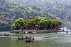 barahi island on pokhara lake (nepal), forest, island, lake, pokhara, river boats, trees, water