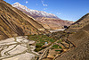 kagbeni village and the kali gandaki river valley - lower mustang (nepal), annapurnas, kagbeni, kali gandaki river, kali gandaki valley, mountains, peak, river bed, snow, village, water