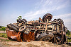 overturned truck - TATA - accident (india), crash, ditch, lorry, overturned, road, rollover, tata motors, traffic accident, truck accident, twisted, underbelly, up-side-down, west bengal, wreck