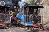 steam locomotives - darjeeling (india), 782 mountaineer, 788 tusker, 804 queen of the hills, cab, darjeeling himalayan railway, darjeeling toy train, man, narrow gauge, railroad, smoke, smoking, steam engine, steam locomotive, steam train engine, train depot, train yard, worker