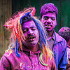 colored faces during holi festival of colors (india), blue, dye, hindu, holi festival, horns, mani, men, pink, powder, purple, west bengal, wig