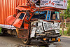 truck accident - crushed cab - frontal collision (india), cab, cabin, crushed, delhi gujarat fleet carrier, dgfc, frontal collision, head-on collision, lorry, road crash, tata motors, traffic accident, traffic crash, truck accident, wreck