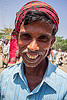indian man with short beard and red headdress (india), beard, man, muslim, west bengal