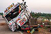 semi truck frontal collision (india), artic, articulated lorry, big rig, cab, cabin, crushed, divided highway, fatal, frontal collision, head-on collision, median, road crash, semi truck, tata motors, tractor trailer, traffic accident, traffic crash, truck accident, wreck