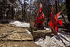 hindu shrine with red flags and snow in mountain forest (india), forest, hinduism, mountains, red flags, shrine, snow