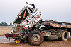 truck head-on crash (india), artic, articulated lorry, big rig, cab, cabin, crushed, fatal, frontal collision, head-on collision, road crash, semi truck, semi-trailer, tata motors, tractor trailer, traffic accident, traffic crash, truck accident, wreck
