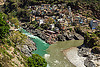 devprayag - confluence of the alaknanda and bhagirathi rivers into the  ganges river (india), alaknanda river, bhagirathi river, city, confluence, devprayag, ganga river, ganges river, ghat, river bed, rivers, sangam, water