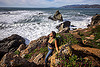 woman hiking near the ocean - rugged california coast, coast, hiking, ocean, rocks, rocky, rugged, sea, seashore, shore, white water, woman, yassmine