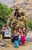 villagers loading hay on overloaded mahendra jeep (india), car, cargo, dhauliganga valley, freight, hay, jeep, load, loading, mahindra, men, mountains, overloaded, raini chak lata, road, women