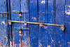 blue barred door with many padlocks (india), almora, barred door, blue door, closed, locked door, padlocks, paint, painted, wooden