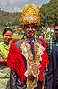 indian wedding groom with banknotes costume (india), banknotes, groom, hat, headdress, indian wedding, man, money, necklace, standing, tola gunth, wedding costume