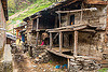 dilapidated house in himalayan village (india), house, janki chatti, man, people, village