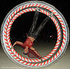 german wheel, art, burning man, german wheel, night, rolling, upside-down, woman