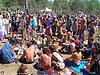 crowd around altar - rainbow gathering - hippie, altar, crowd, hippie, rainbow family, rainbow gathering