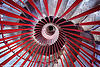 double-helix spiral stairs, circular stairs, double-helix, ljubljana castle, perspective, red, spiral stairs, stairwell, vanishing point