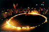 fire ring, circle, fire dancer, fire dancing, fire performer, fire poi, fire spinning, flames, long exposure, night, spinning fire