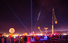 cranes and cherry pickers - burning man 2015, burning man, cherry picker, crane, crowd, glowing, lasers, night, scissor lift