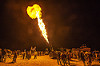 fire cannon - burning man 2015, burning man, fire cannon, flames, night, people, unidentified art car