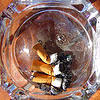 ashtray - cigarette butts, cigarette butt, cigarettes, glass ashtray, smoking