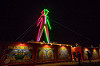 the man at night - burning man 2015, burning man, frog-bat, glowing, neon, night