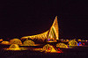 temple of promise at night - burning man 2015, architecture, bicycles, burning man, night, temple of promise