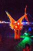glowing EL-wire angel costume - burning man 2015, angel costume, angel wings, burning man, el-wire, flag, glowing, night, orange
