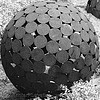 metal sculpture - sphere of disks, abstract sculpture, disks, ironwork, metal sculpture, metalwork, modern art, sphere, spherical
