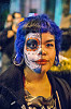 woman with half face sugar skull makeup - blue hair - gouged ears - dia de los muertos, blue hair, day of the dead, dia de los muertos, face painting, facepaint, gouged ears, half face, halloween, night, sugar skull makeup, woman