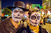 michael paim and louise with sugar skull makeup - dia de los muertos, couple, day of the dead, dia de los muertos, face painting, facepaint, halloween, man, night, sugar skull makeup, woman