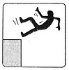stick-figure falling, danger, fall, falling, hazard, safety sign, stick figure, stick figures in peril