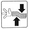stick-arm, broken arm, danger, hand, hazard, safety sign, sheering, stick figure, stick figures in peril