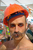 randal the furtographer - burning-man 2006, beard, burning man, center camp, eye makeup, moustaches, mustaches, nose piercing, safety helmet, septum piercing