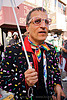 bruce beaudette - how weird street faire (san francisco), beaded coat, beads, bindis, bruce beaudette, eyeglasses, eyewear, glasses, how weird festival, man, people, rainbow colors, rhinestones, spectacles
