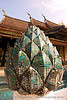 lotus flower mosaic sculpture in temple - luang prabang (laos)