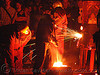 foundry workers, crucible, fire, foundry, molten metal, sparks, workers, working