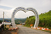welcome to houaphanh - heart-shape gate (laos)