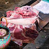 pig quarters in meat market (laos), meat market, meat shop, pig, pork, raw meat, tail