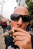 cigar smoking, ashes, bald head, cigar smoking, dore alley fair, man, sunglasses