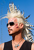 feather-like mohawk - folsom street fair 2008 (san francisco), andrew marlin, folsom street fair, hair extensions, man, mohawk hair, people, sunglasses, white