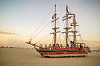 art ship monaco at dusk - burning man 2016, art car, art ship monaco, burning man, dawn, tall ship