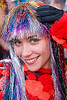 russian girl with rainbow glittery wig - burning man decompression 2008 (san francisco)