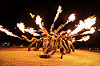 fire breathing snakes - medusa madness - burning man 2016, art installation, burning man, fire, flames, medusa madness, night, sculpture, snakes