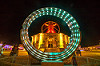 animated steel rings sculpture - burning man 2016, animated, art installation, burning man, disc-go-sphere, glowing, led light, metal, night, rings, sculpture, the man