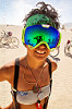 woman with mirror goggles - burning man 2016, burning man, mirror googles, reflection, reflective googles, woman