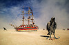 monaco art ship - giant ravens - burning man 2016, art car, art installation, art ship monaco, burning man, giant bird, giant crow, giant raven, paanuts, sculpture, tall ship